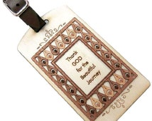 Thank God For The Beautiful Journey Wooden Luggage Tag