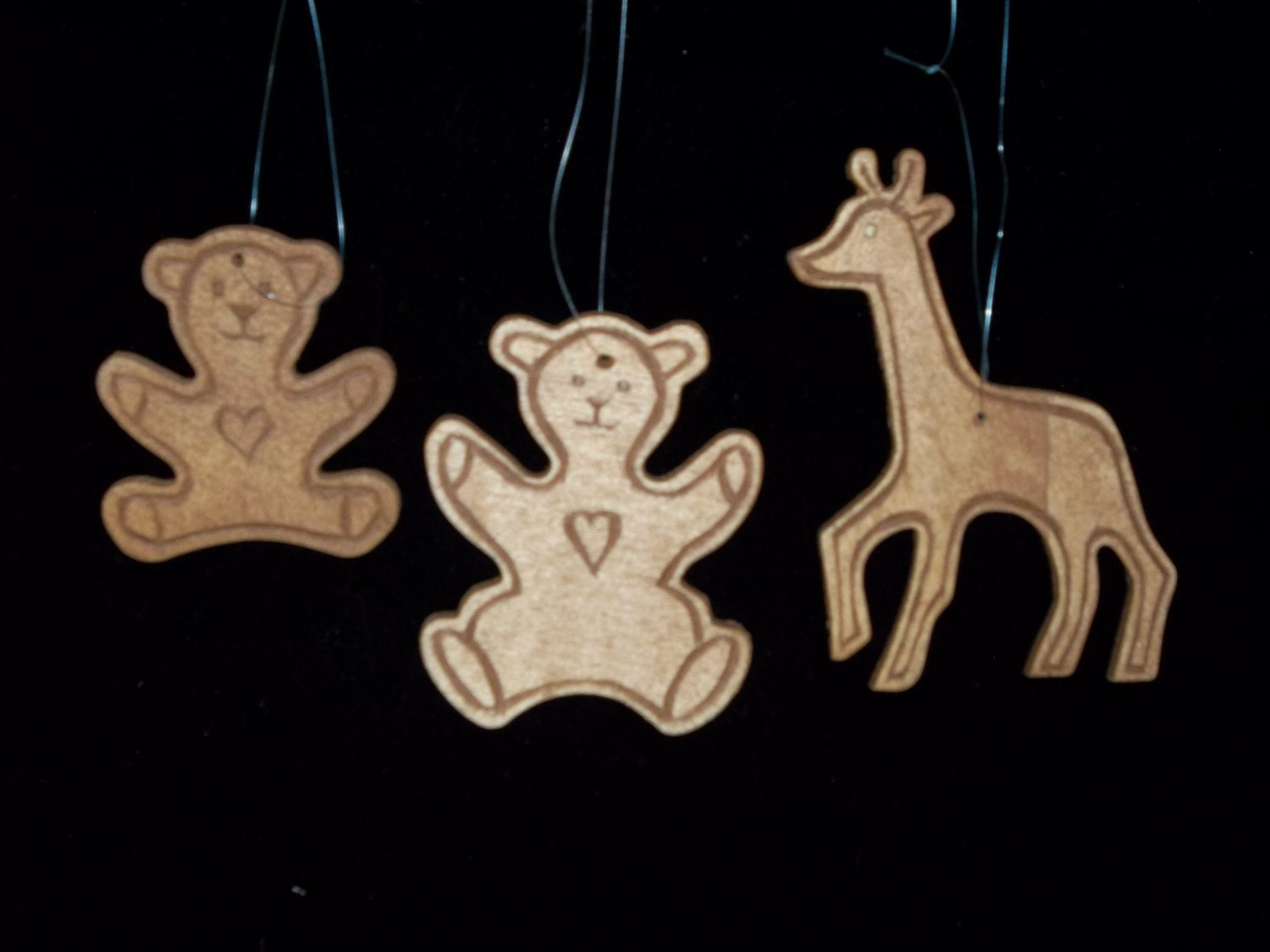Chip carved christmas ornaments set of three by ourbestefforts