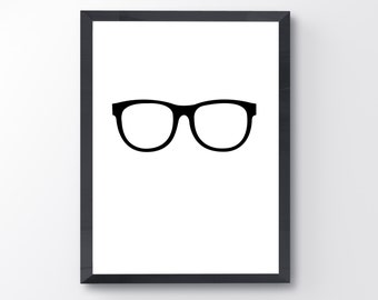 Black glasses / 8x10 / printable / digital download