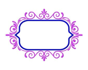 Embroidery Design,   Large fancy ornamental frame for names or monograms, #303