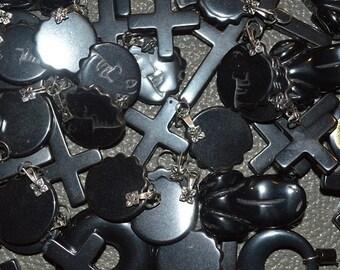 Destash -Assorted Hematite Charms - 8 pc package (1060050)