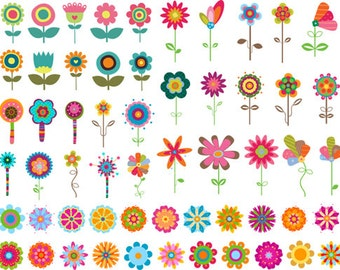 Instant Download Digital Flower Clip Art Flower Collection Colorful Flower Clipart Scrapbooking Flower Decor - Craft, Cards, Invitation 0342