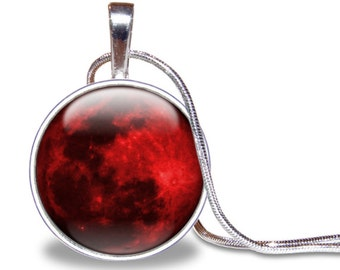 Blood Moon Necklace, Red Full Moon Pendant, Blood Moon Jewelry, Galaxy Necklace, Full Moon Jewelry, Space Necklace, Silver Plated, Space