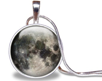 Full Moon Necklace, Full Moon Pendant, Full Moon Jewelry, Galaxy Necklace, Full Moon Jewelry, Space Necklace, Silver Plated, Space Jewelry