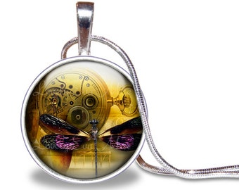 Steampunk Dragonfly Necklace, Dragonfly Pendant, Gold and Purple Necklace, Steampunk Necklace, Watch Movement Necklace, Glass Tile Pendant