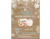 Rustic Winter Onederland Invitation. First Birthday. Boy or Girl. Snowflakes Christmas. Blue, Pink. Custom Photo. Printable Digial file