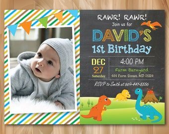 Dinosaur Birthday Invitation. Dinosaur Birthday Party Invite. Boy Birthday. Kids Birthday. Custom Photo. Printable Digial file.