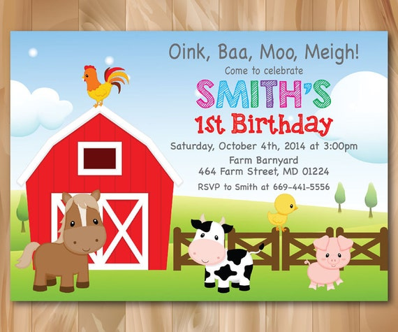 Farm Birthday Invitation Country Farm Animal Barnyard Barn