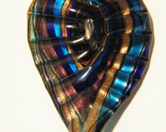 Glass pendant, Murano glass pendant, Pendant Murano Foil Glass Leaf Sky Blue