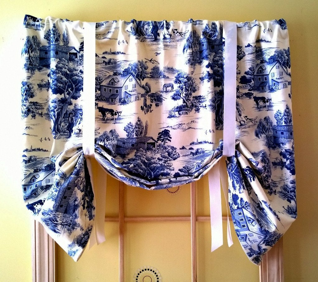 Toile Tie Up Window Valance Country Traditional French