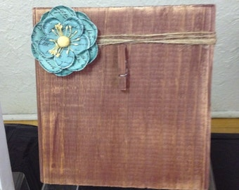 Rustic Wood Photo Frame with Twine, Flower & Clip Holder