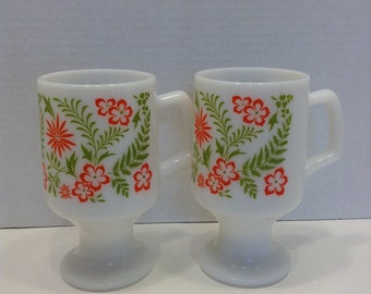 Set of 2 Retro Mod Milk Glass Footed Mugs