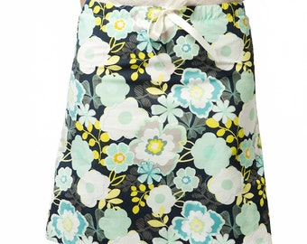 Clearance Sale ~ Aline Skirt ~ Gray, Teal and Green Floral ~ Lined Aline Skirt ~ A-line Skirt ~ Women's Apparel ~ Sizes : X-Small