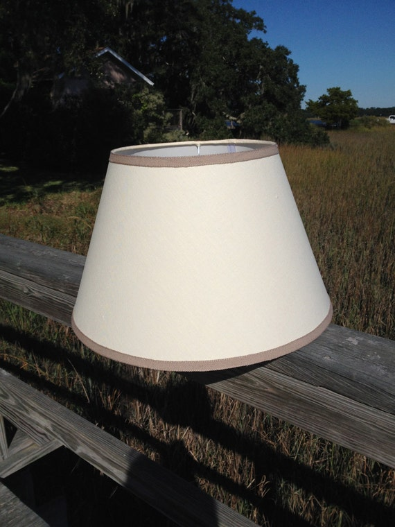 off white linen empire lamp shade lampshade with taupe linen trim. Black Bedroom Furniture Sets. Home Design Ideas