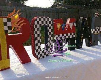 Race Cars Customized Letters