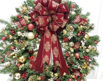 Christmas Wreath,  Lighted Wreath, Codress,  XL Wreath,   Timer, Burgundy, Artficial Wreath, Wreath, Wreaths, Pre-Lit Wreath,