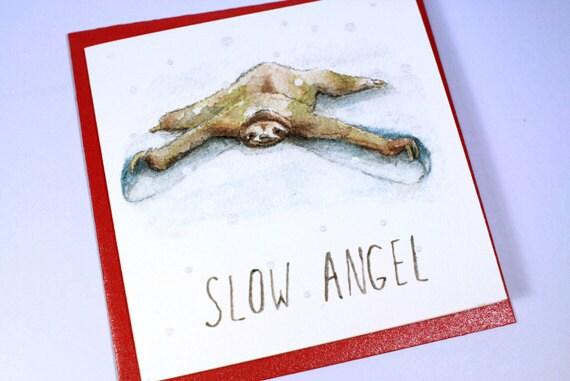 Slow Angel Sloth Christmas Card