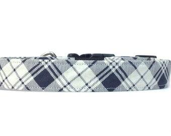 Contrast Bias Plaid Dog Collar