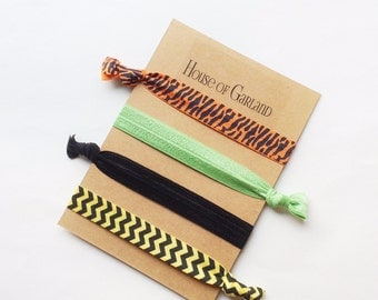 Safari set of 4 FOE hair ties - No Crease hair ties - Girls hair ties - FOE hair ties - Hair accessories - Ponytail - Hair Elastics