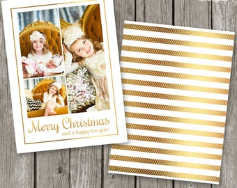 Holiday Card Template - Gold Christmas Photo Card for Photographers - Gold Foil Card Design - CC32