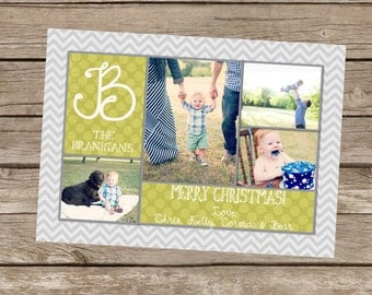 Christmas Card Digital File 5x7 Chevron/Houndstooth Monogram