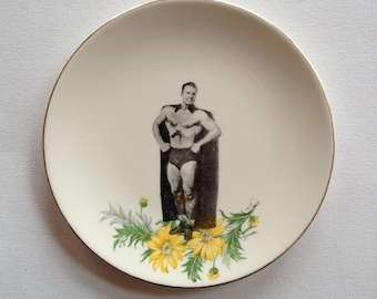 awesome cape guy - altered vintage plate