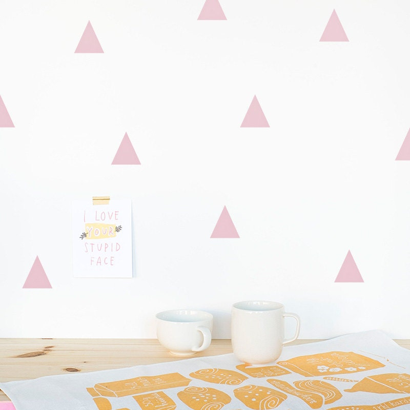 Triangle wall decal pink wall triangles vinyl by for Stickers decorativos de pared