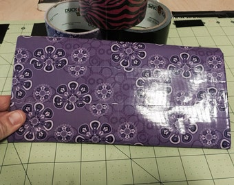 Purple flower duct tape wallet