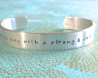 Recovery Gift | Survivor Gift | Start each day with a strong & determined heart | Custom Hand Stamped Bracelet by MadeByMishka.com