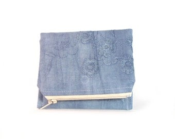 Wallet - Coin Purse - Cute Wallet - Zipper Coin Pouch - Vintage Fabrics - Blue - Embroidered Wallet - Up-Cycled - Muslin