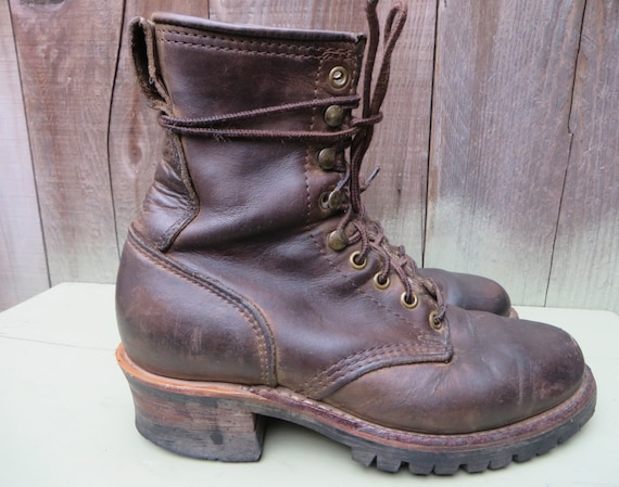 Vintage 70s 80s Frye Laceup Boots Logger Boots Ladies