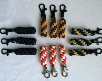 Paracord zipper pulls set of 3 - multi color zipper pulls - gym bag accessory purse charms backpack accessory  jacket pulls