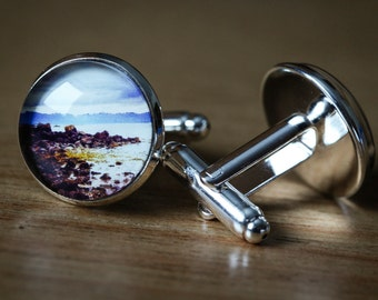 A pair of hand crafted silver plated Cuff Links featuring a 16mm  original photograph taken on the Redpoint beach on West coast of Scotland