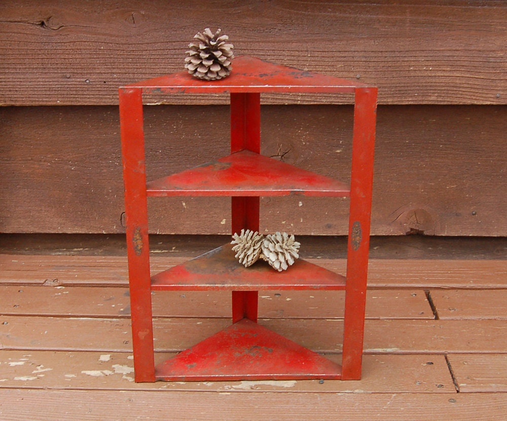 Red Metal Corner Shelf Vintage Metal Wall Shelf