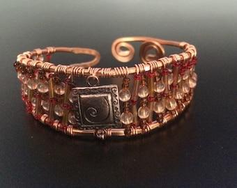 Copper Beaded Bracelet Cuff