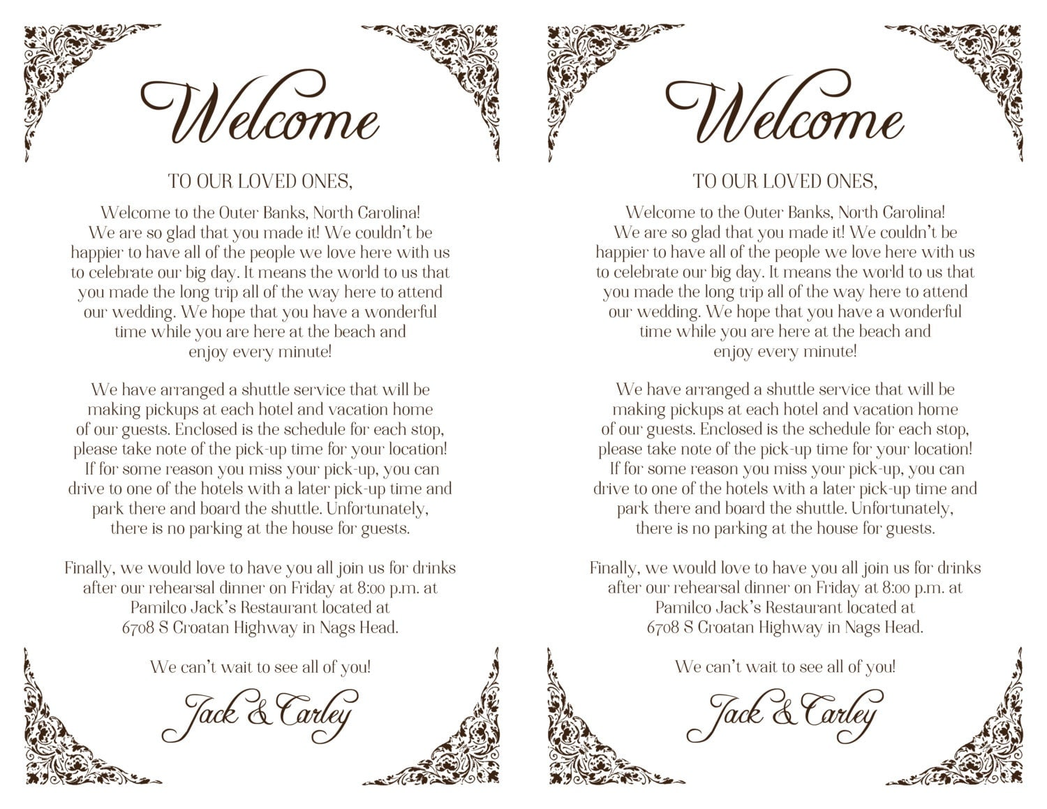 Custom Wedding Welcome Letter Printable DIY Welcome Bag – Welcome Letter