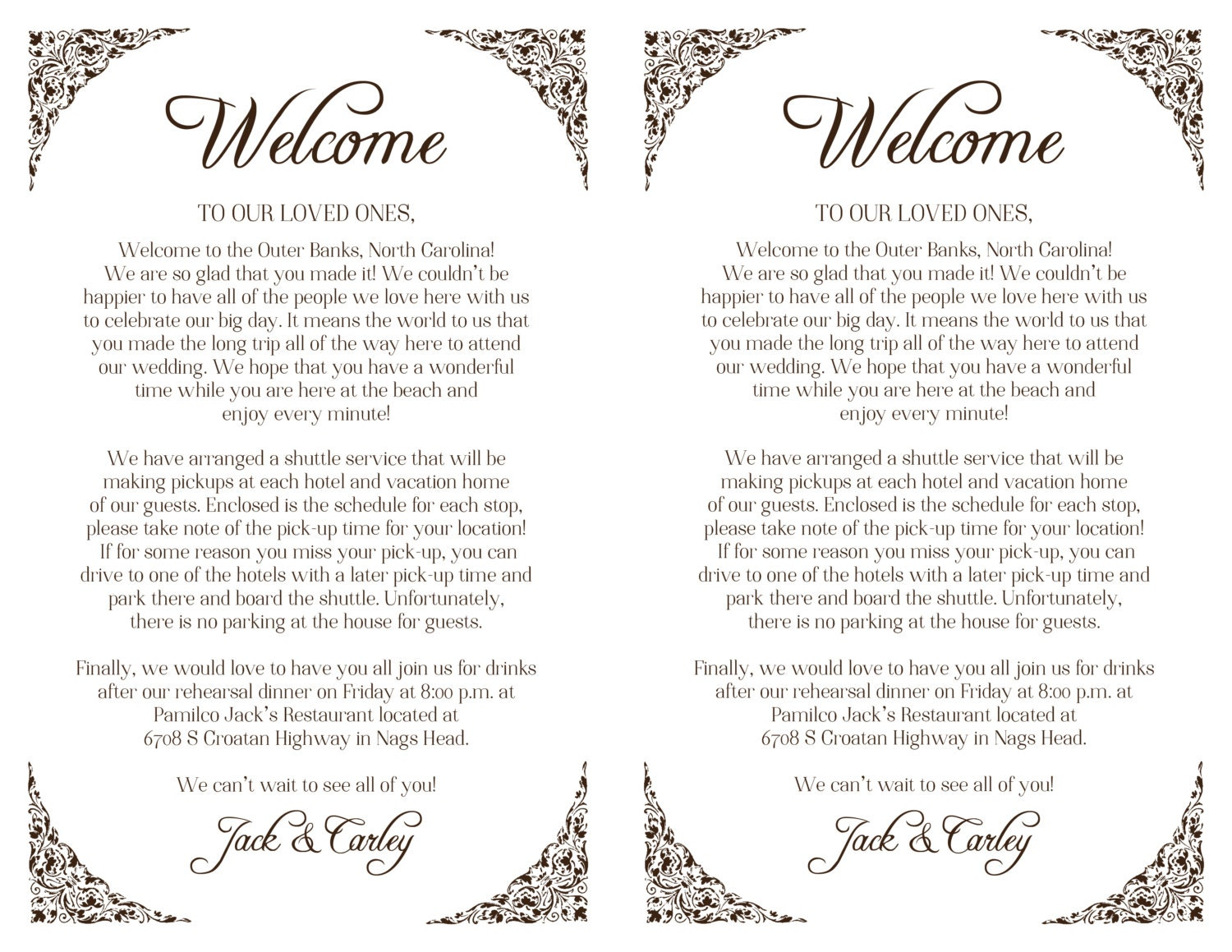 Custom Wedding Welcome Letter Floral Border Printable DIY