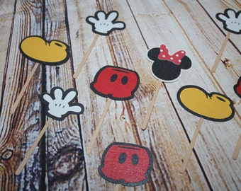 Minnie Mouse inspired cupcake toppers , Minnie Mouse inspired decoration party, Mickey mouse cupcake toppers, Mickey mouse party
