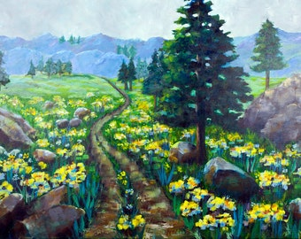 original acrylic landscape painting  booth trail