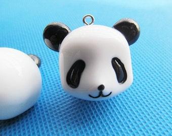 White Black  Heavy Resin Panda Animal Pendant Charm/Finding,Bag Chain Pendant Charm,DIY Accessory Jewellry Making