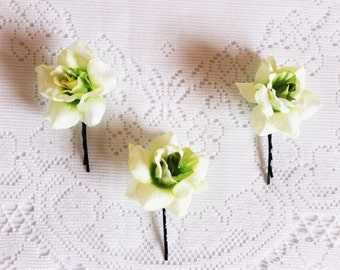 Roses Bobby Pins, three, red, pink, green, elegant, whimsical, handcrafted, headpiece, clip