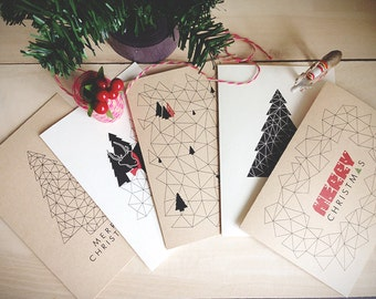 Instant Download | Printable Christmas Cards | A Geometric Christmas | Set of 5 cards