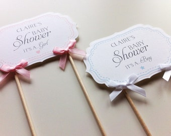 Baby Shower Cake Topper - Plaque / Banner / Bunting -  New Baby, Boy, Girl