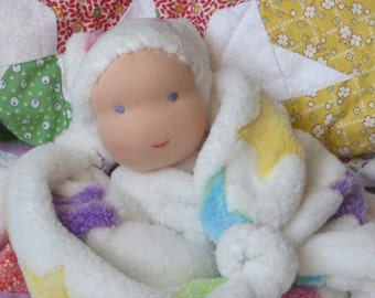 lovey minky blanket doll -Waldorf first doll - knot doll -baby gift - homemade -teething doll- newborn gift