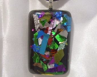 Confetti Faux Dichroic Rectangle Pendant