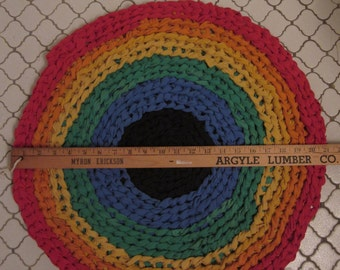 Round Upcycled T-Shirt Rug, Finger Crocheted