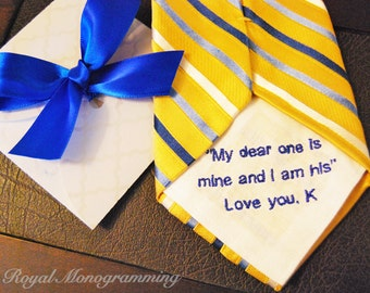 Wedding Tie Patch Monogrammed for Groom! Or Anniversary Gift! FREE GIFT CASES with each order. Custom Embroidered Gift