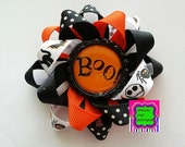 BOO Halloween Loopy Bow Hair Bow Holiday Photo Prop Black Cat Bow Pumpkin Bow Spider Bow