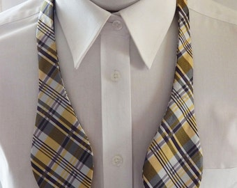 Mens Bowtie Yellow,Silver And  Purple Striped Plaid Self Tie Bow Tie