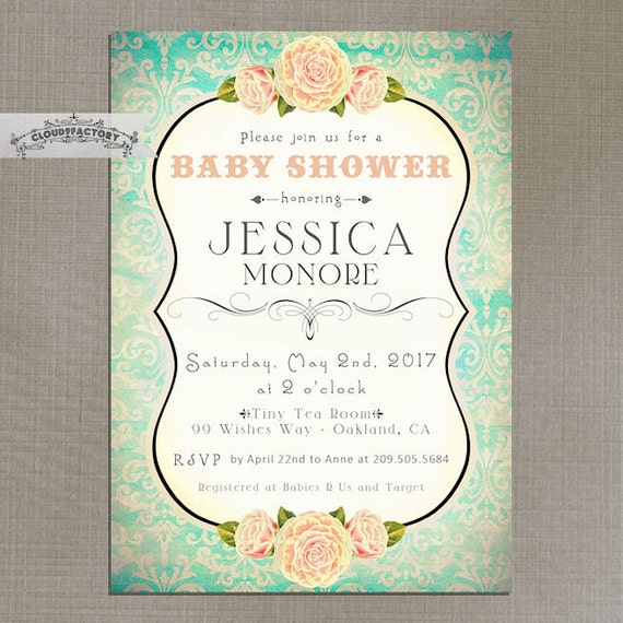 peach and turquoise baby shower invitation light by cloudfactory, Baby shower invitations